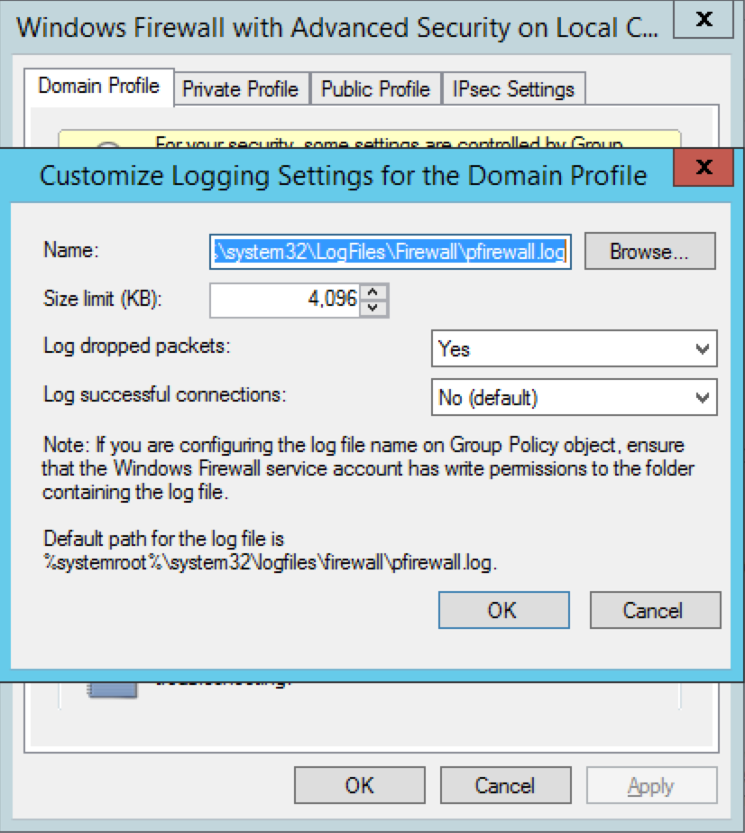 Checking Windows Firewall for blocked ports - Enable Windows Firewall Logging